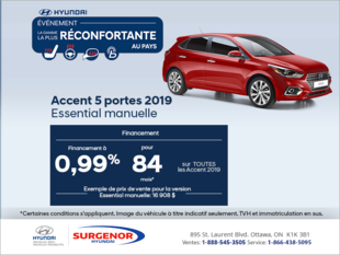 Financez la Accent 5 portes 2019!