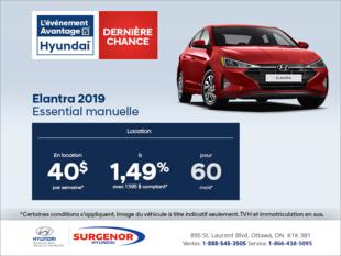 Louez la Hyundai Elantra 2019!