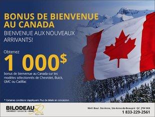 Bonus de bienvenue au Canada