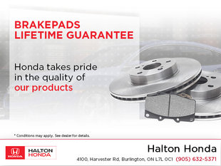 Brakepads Lifetime Guarantee