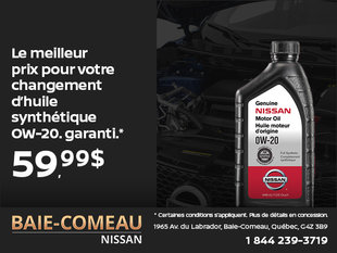 Changement d'huile à 59,99$!