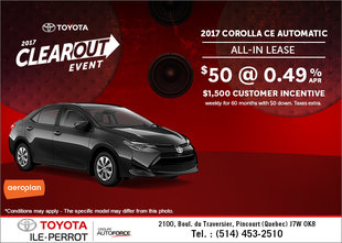 Save on the 2017 Toyota Corolla!
