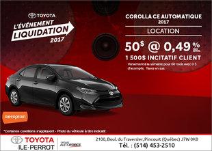La Toyota Corolla 2017 en rabais