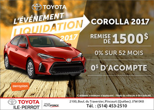 La Toyota Corolla 2017 en rabais!