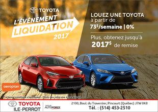 La vente mensuelle chez Toyota Ile-Perrot!