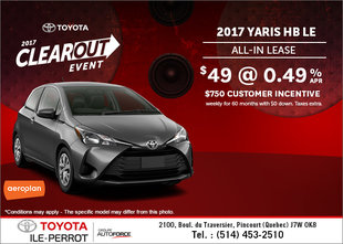 Save on the 2017 Toyota Yaris Hatchback!
