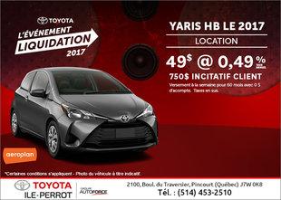 La Toyota Yaris à hayon 2017 en rabais