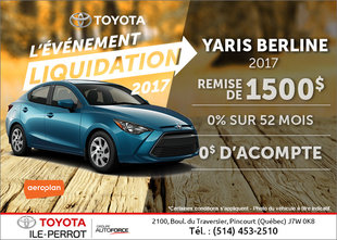 La Toyota Yaris 2017 en rabais!