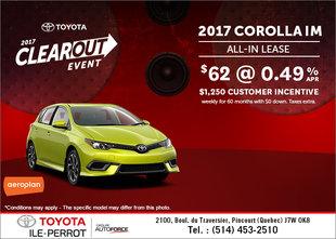 Save on the 2017 Corolla iM!