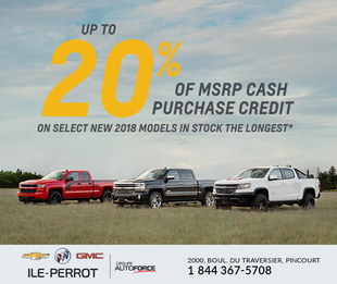 Up to 20 % of MSRP cash purchase credit