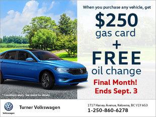$250 Gas Card & Free Oil Change