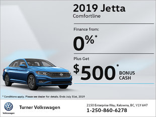 2019 Jetta: 0% & $500 bonus!