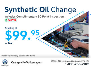Get a Synthetic Oil Change Starting at $99.95!