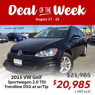 Save $1,000 on 2015 Volkswagen Golf Sportwagon 2.0 TDI Trendline DSG at w/Tip