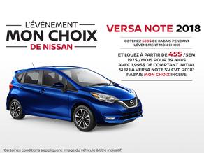 La Nissan Versa Note 2018 en rabais!
