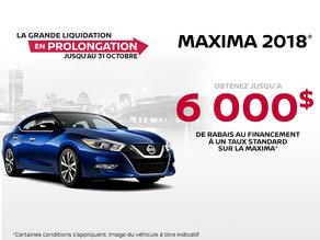 Obtenez la Nissan Maxima 2018 dès aujourd'hui!