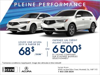 La vente pleine performance d'Acura