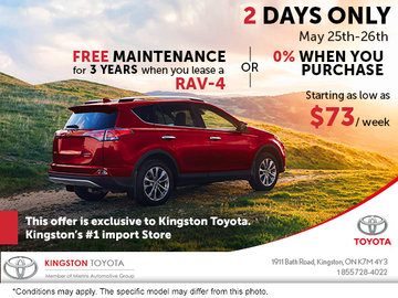 Kingston Toyota's Exclusive Offer - 2 Days Only