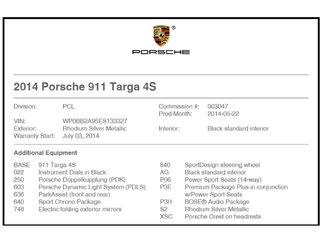 Porsche 911 Targa 4S 2014
