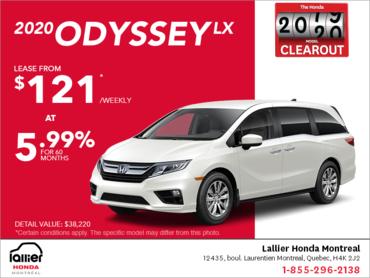 Lease the 2020 Honda Odyssey!