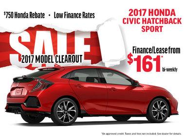 2017 Honda Civic Sport Hatchback Clearout