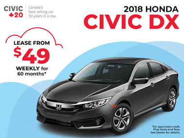 $49 Weekly Lease on the 2018 Honda Civic DX