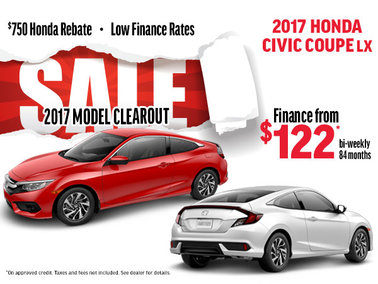 Clearout Sale -Finance the 2017 Honda Civic Coupe LX