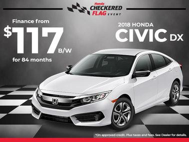 Finance the 2018 Honda Civic DX for $117 Bi-Weekly