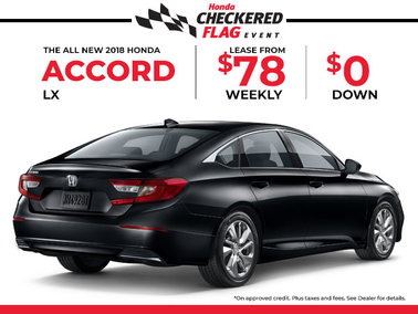 Lease the 2018 Honda Accord for $78 Weekly