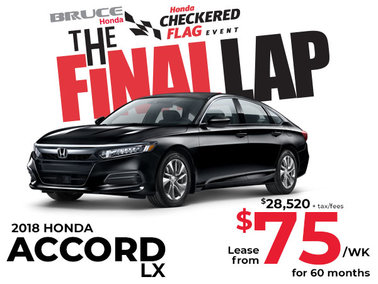Lease the 2018 Honda Accord for $75 Weekly