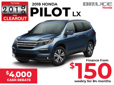 $4,000 Cash Rebate on the 2018 Honda Pilot LX