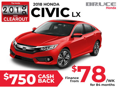 Finance the 2018 Honda Civic LX for $78 Weekly