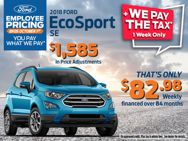 Employee Pricing + We Pay the Tax on 2018 Ford EcoSport SE