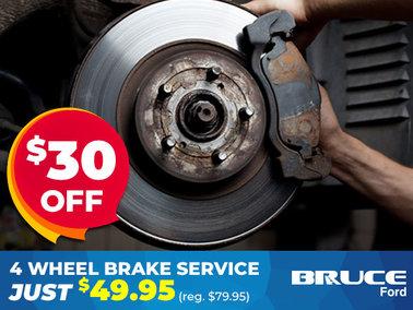 $30 off 4 Wheel Brake Service in September