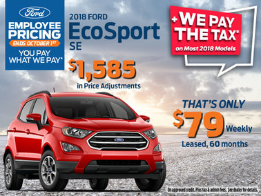 Save on 2018 Ford EcoSport SE with Employee Pricing + Save the Tax
