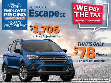 Lease the 2018 Ford Escape SE - Get Employee Pricing & Qualify for Additional Savings