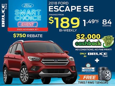 Finance the 2018 Ford Escape SE for Just $189 Bi-Weekly