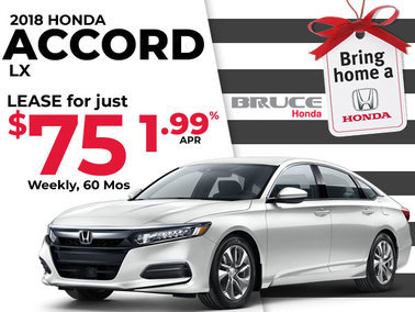 Just $75 Weekly for the 2018 Honda Accord LX