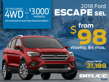No Charge 4WD on the 2018 Escape - from $98 Weekly!