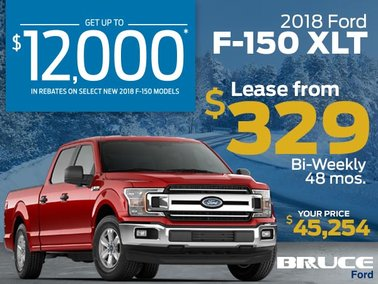 Get up to $12,000 off 2018 F-150. Lease the XLT from $329 Bi-Weekly