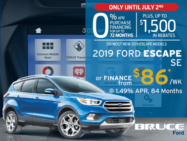 0% Financing for Up To 72 Months on Most New 2019 Escapes
