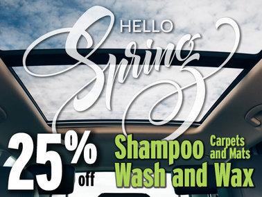 25% Off Shampoo, Wash & Wax