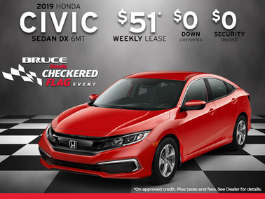 2019 Civic DX from $51 Weekly