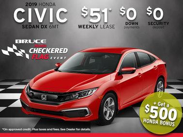 2019 Honda Civic from Only $51 Week + Get a $500 Honda Bonus