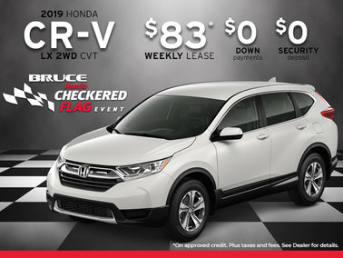 Get the 2019 CR-V LX 2WD from $83 Weekly