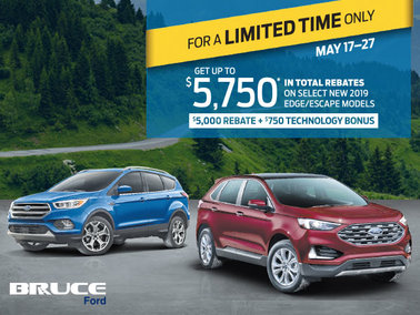Save $5,750 on 2019 Escape or Edge - 10 Days Only!