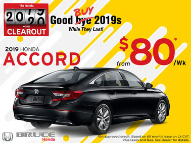 $80 Weekly for the 2019 Accord (While They Last!)