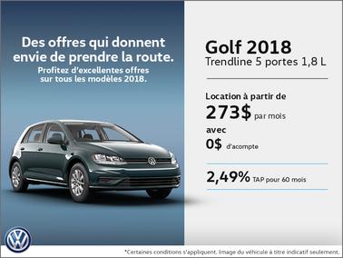 Obtenez la Golf 5 portes 2018 dès aujourd'hui