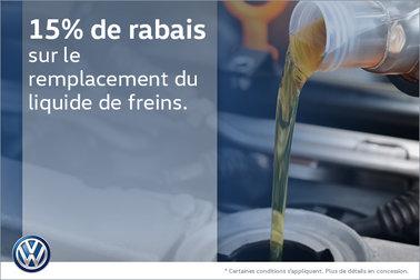 15% de rabais sur le remplacement du liquide de frein