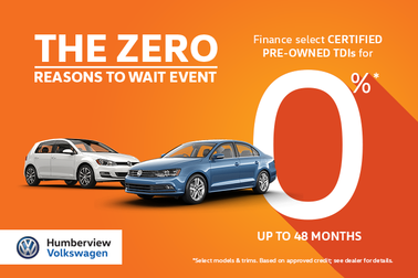 It's the Zero Reasons to Wait Event: CPO TDI Specials this April!